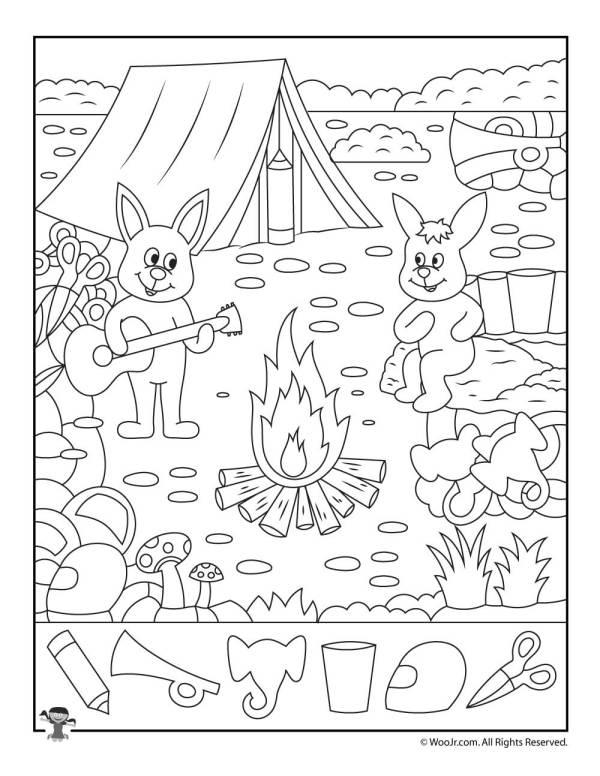 Summer Camp Hidden Pictures Page | Woo! Jr. Kids Activities