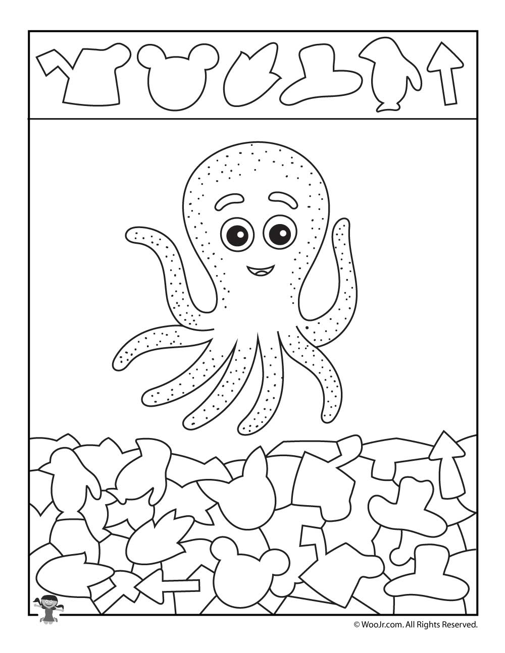 Octopus Hidden Shapes Printable