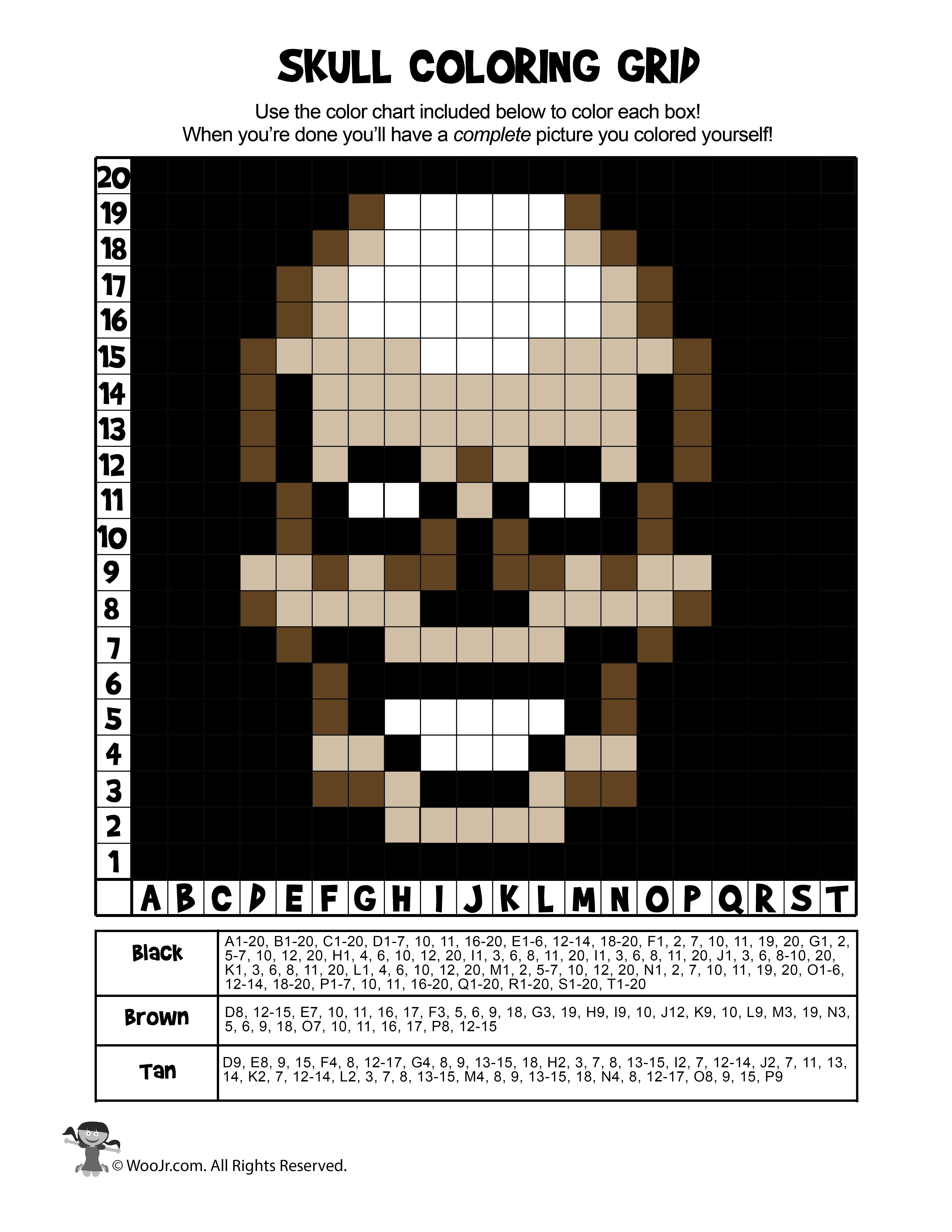 Skeleton Skull Grid Coloring Worksheet
