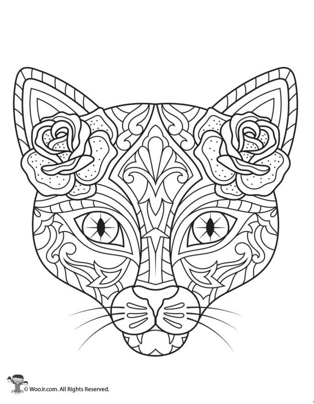 Day of the Dead Cat Adult Coloring Printable  Woo! Jr. Kids