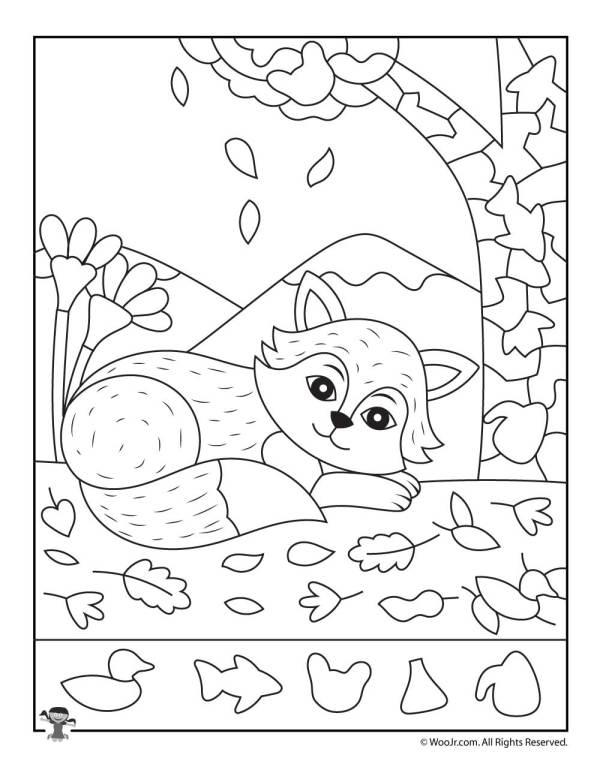 Fall Fox Hidden Picture Page | Woo! Jr. Kids Activities