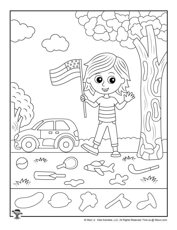 Patriotic-Kid-Hidden-Pictures | Woo! Jr. Kids Activities