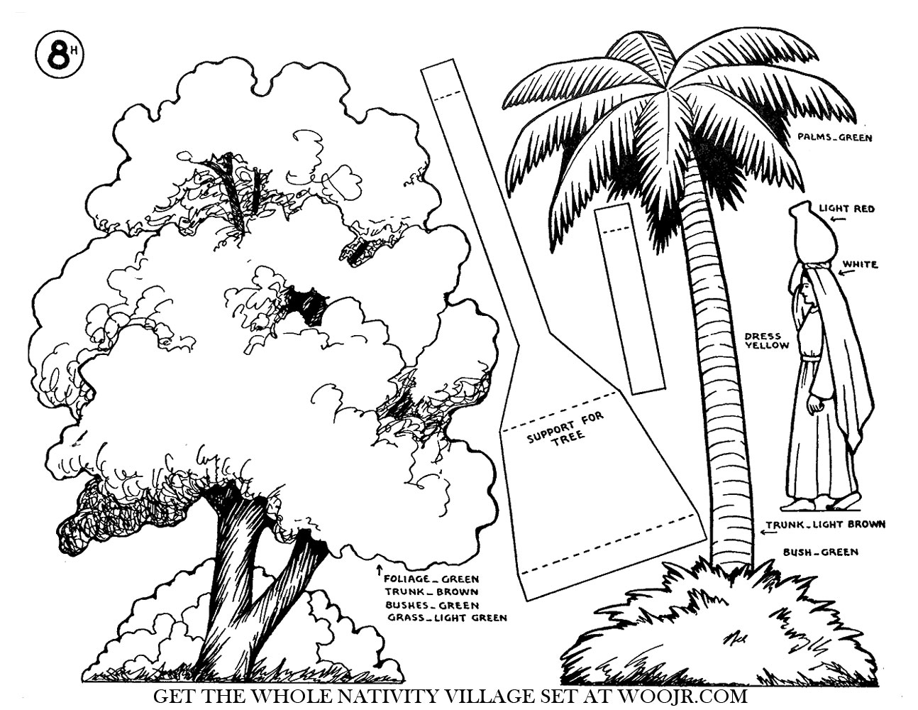 Christmas Nativity Scene Palm Tree