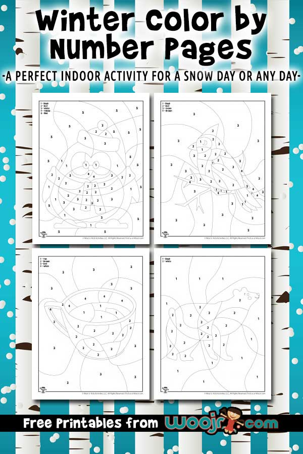 Winter Color By Number Pages Woo Jr Kids Activities