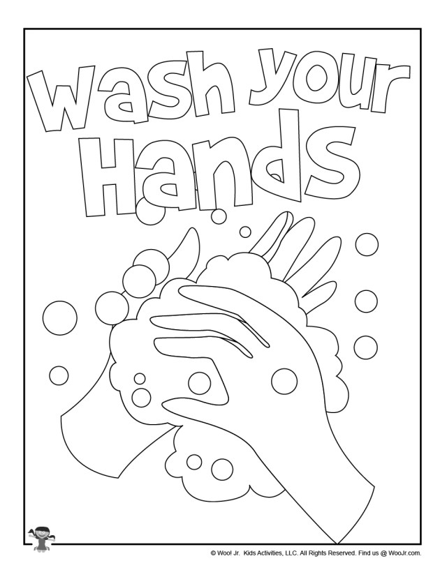 Student Coloring Page Wash Your Hands  Woo! Jr. Kids Activities