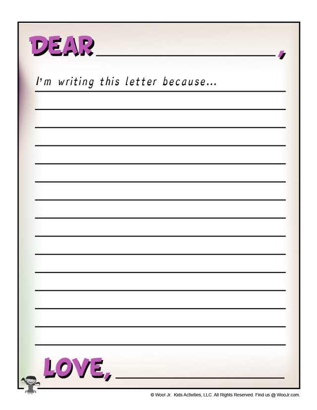 Write a Letter Template for Kids  Woo! Jr. Kids Activities