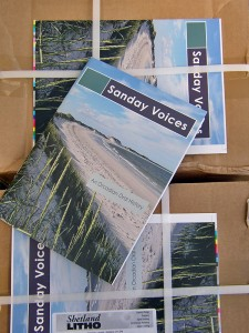 Twelve boxes of Sanday Voices, in my conservatory