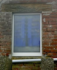 Blue crates in window