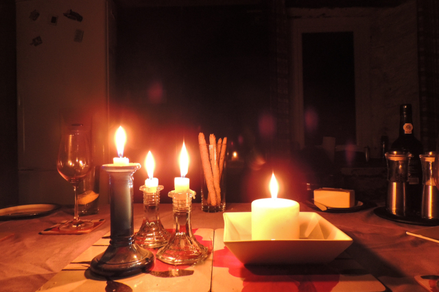 Plenty of candles enabled us to see what we were eating