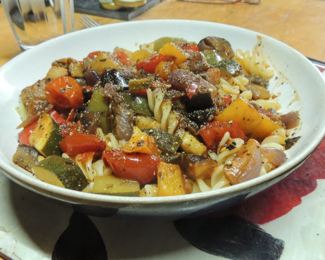 Monday's 500:  Fusilli with a roasted Mediterranean vegetable ragout