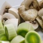 Prepped: Leeks and mushrooms