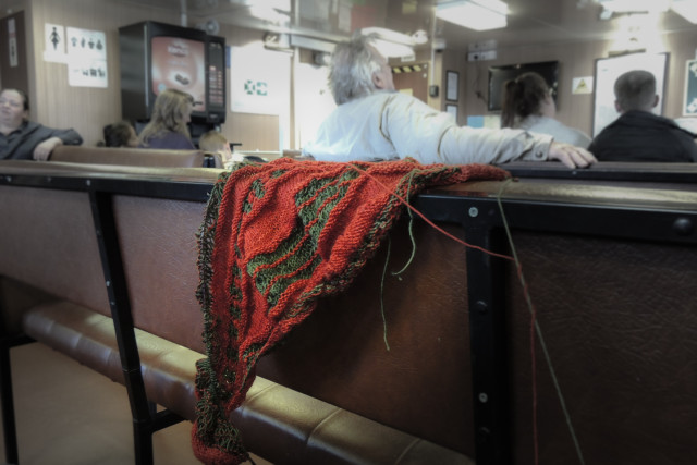 Knitting on the ferry home from town