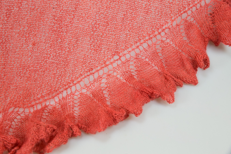Orange triangular shawl also blocked and ready to gift