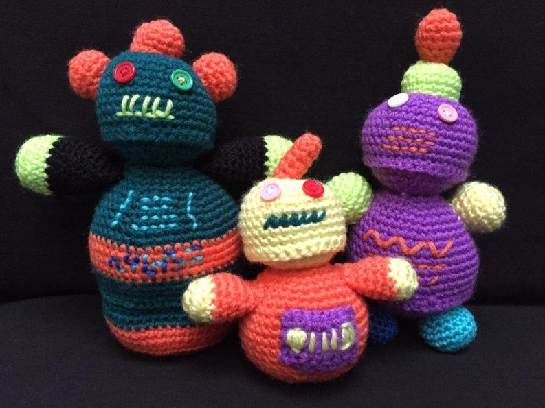 35) Fabulous crocheted robot family!