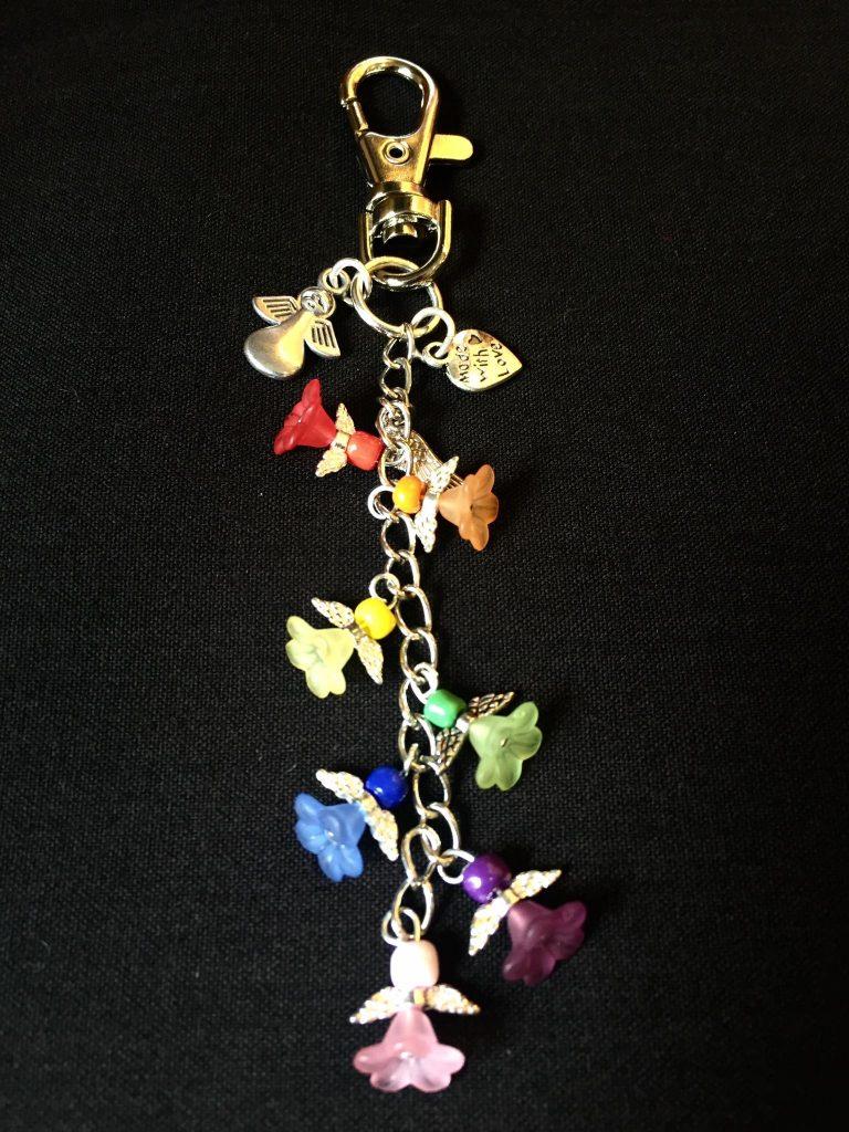 125) Rainbow angel key ring.