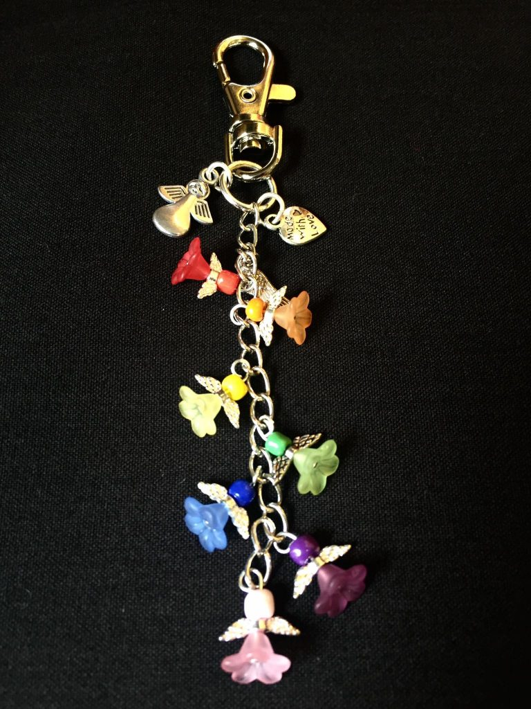 125) Rainbow angel key ring.