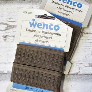 Miederband Gummiband breit braun 85cm 30mm Wenco - Woolnerd