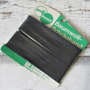 Schrägband golfband anthrazit Baumwolle ungefalzt 24mm 5m Indanthren - Woolnerd1
