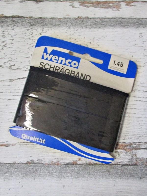Schrägband nicht vorgefalzt ungefalzt schwarz Baumwolle 24mm Wenco - Woolnerd