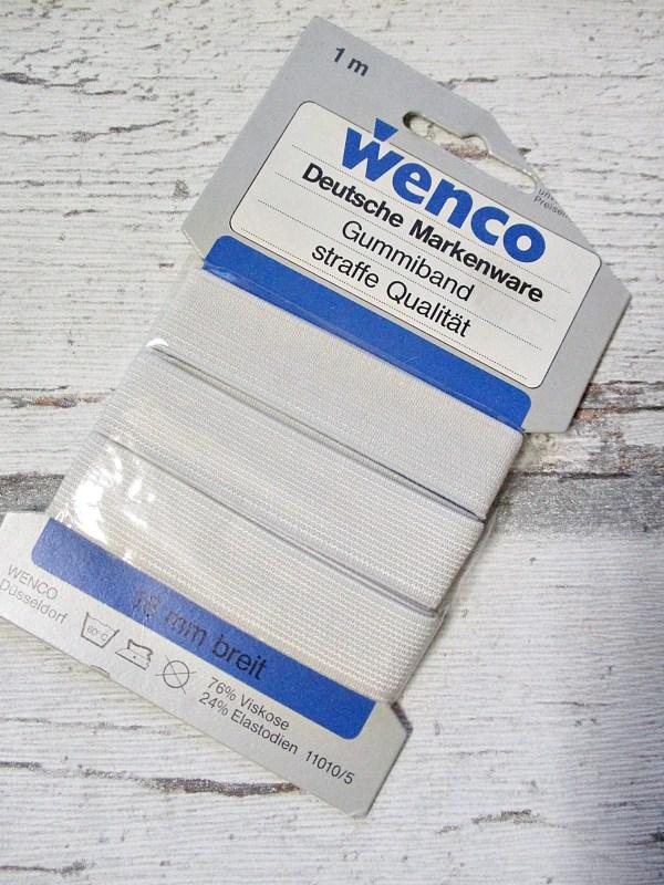 Gummiband Wenco gräulich-weiß flach breit 18mm 1m - Woolnerd