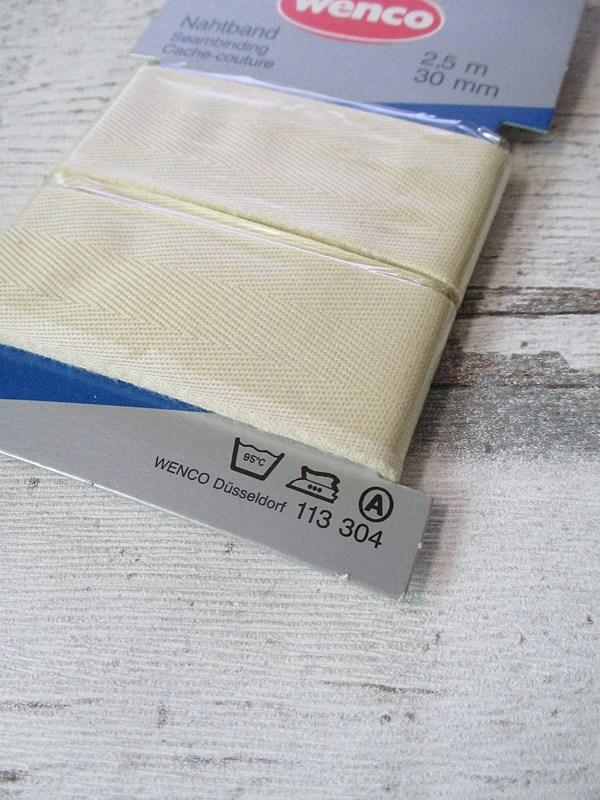 Nahtband Wenco Baumwolle creme 30mm 250cm - Woolnerd