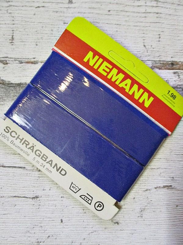Schrägband Niemann royalblau 24mm 5m Baumwolle ungefalzt - Woolnerd
