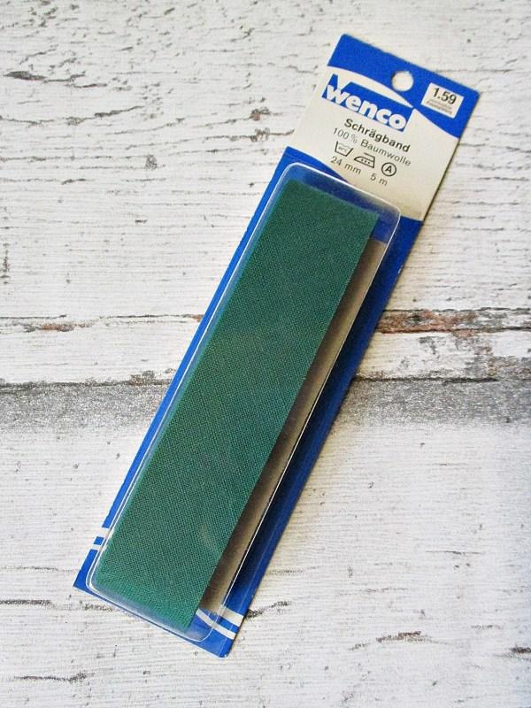 Schrägband Wenco dunkelgrün Baumwolle 24mm ungefalzt - Woolnerd