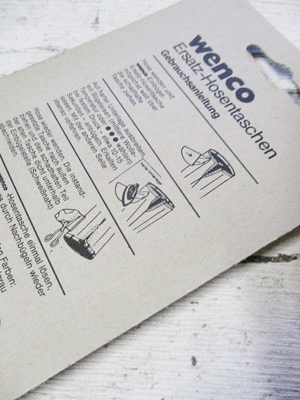 Ersatzhosentaschen Einbügeln hellgrau Wenco - Woolnerd