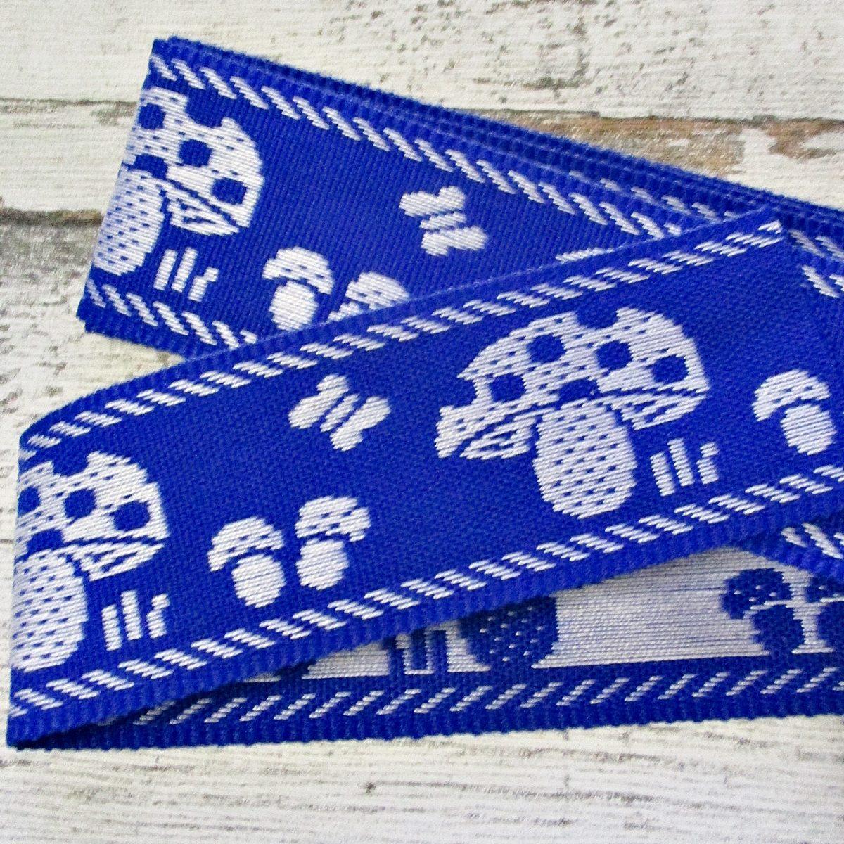 Jeansborte Polyacryl Vintage 70er blau weiß Fliegenpilze Schmetterlinge - Woolnerd