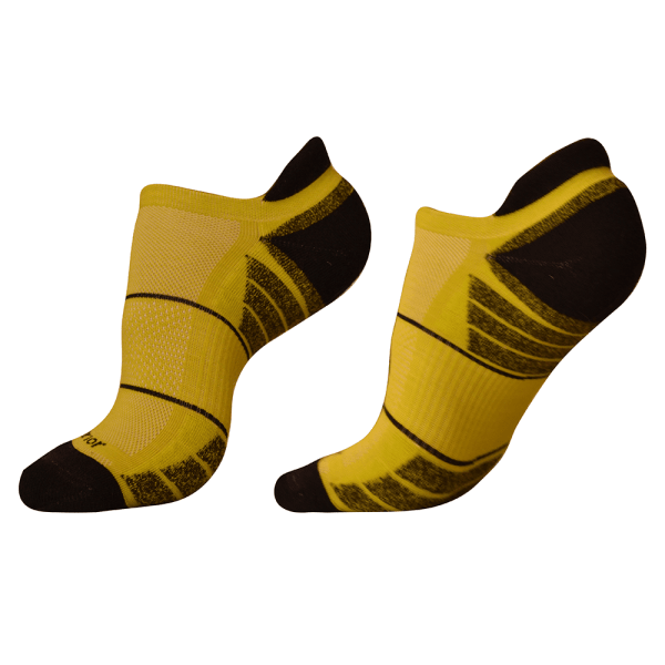 woolrior merino running socks yellow black