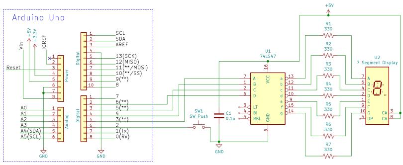 Arduino Uno 7-Segment Display Schematic