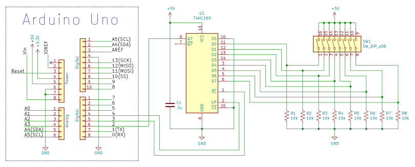 Arduino Uno And 74HC165 Schematic