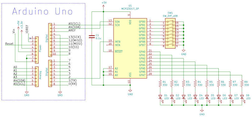 Schematic Diagram Of An MCP23017 Digital I/O Circuit Connected To An Arduino Uno