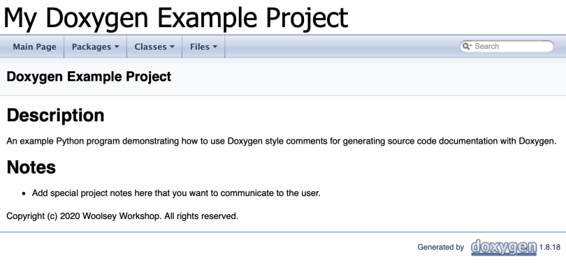 Main Page Of Doxygen Generated Documentation
