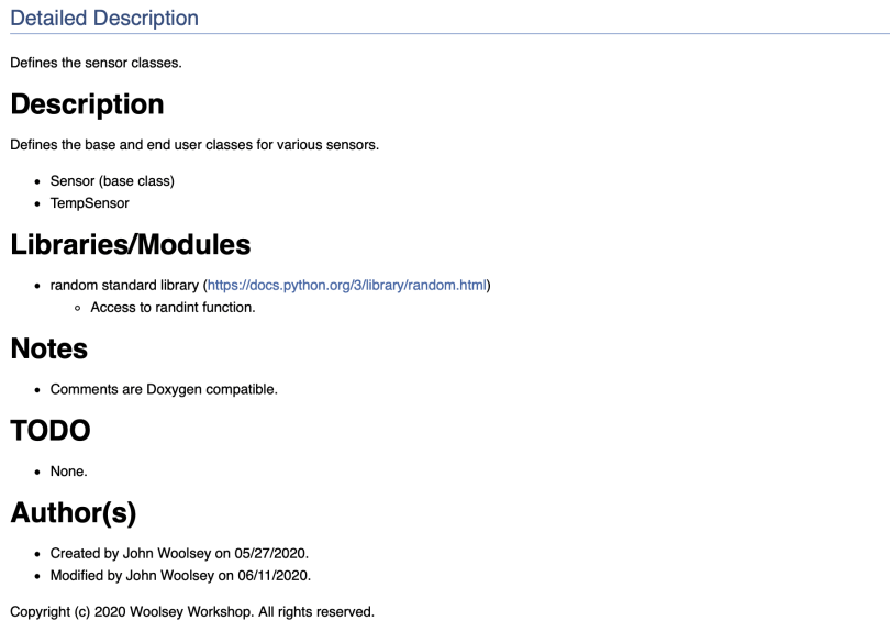 File Page (sensors.py) Of Doxygen Generated Documentation