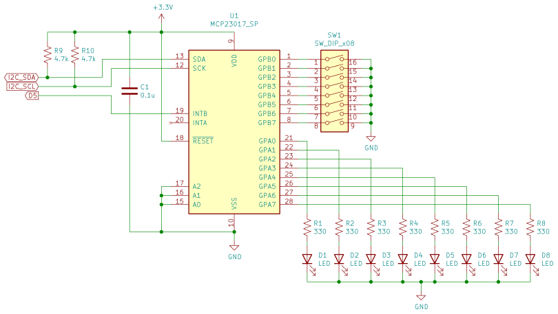 Schematic Diagram Of An MCP23017 Digital I/O Circuit Connected To A CircuitPython Compatible Board