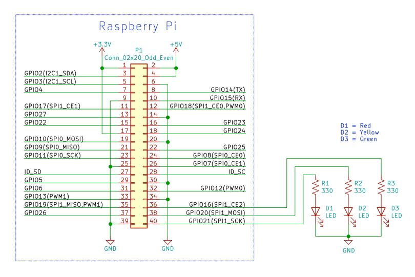 Raspberry Pi LEDs Schematic