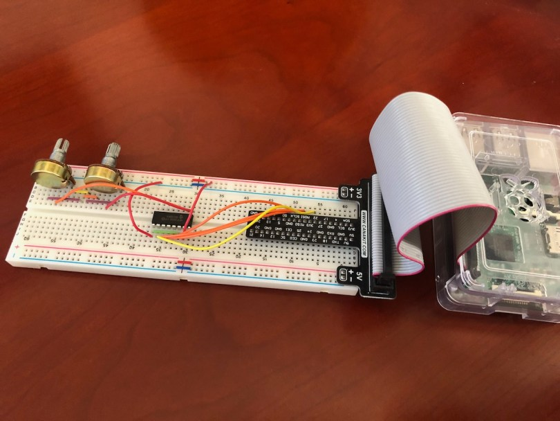 Completed MCP3008 Circuit Using Optional Raspberry Pi GPIO Breakout Board