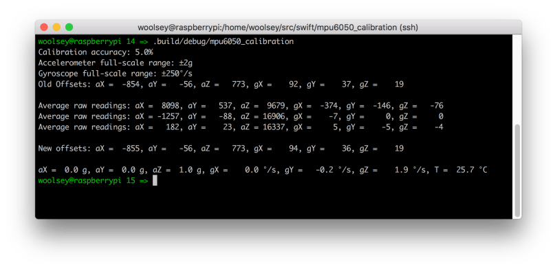 Raspberry Pi MPU6050 Calibration Terminal