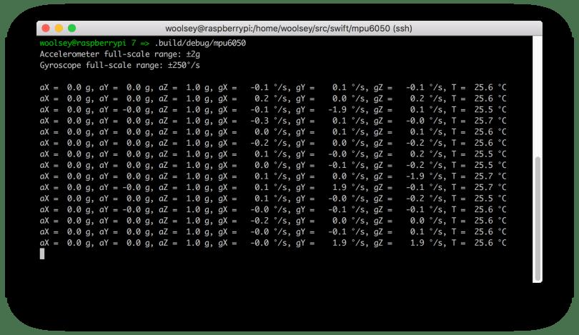 Raspberry Pi MPU6050 Terminal