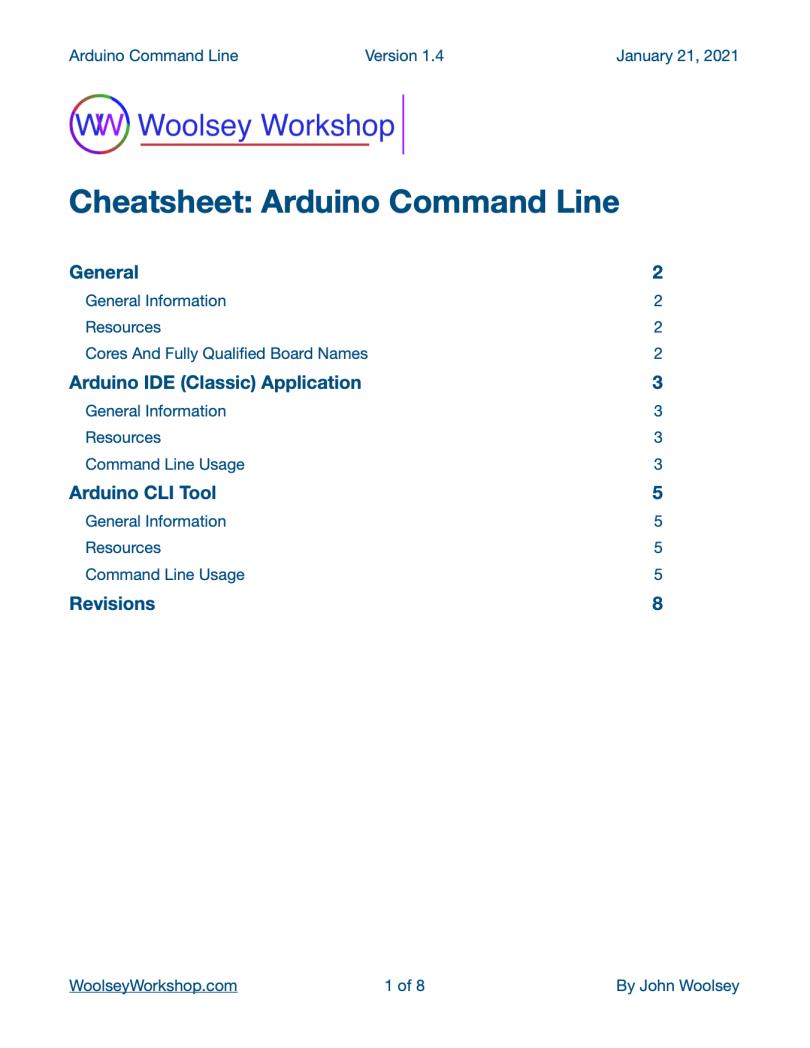 Arduino Command Line Cheatsheet v1.4 Preview