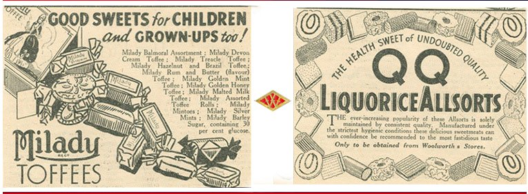 Advertisements for pic'n'mix sweets at Woolworths in 1938 - featuring Milady Toffees and QQQ Liquorice Allsorts