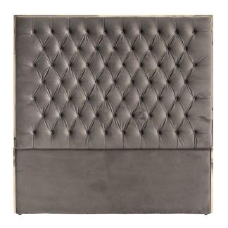 Hoofdbord Lowell 180x180 Stone Velvet / zilver (Zilver)