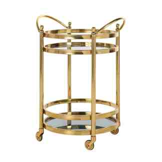 Trolley Hendricks rond goud met glas (Goud)