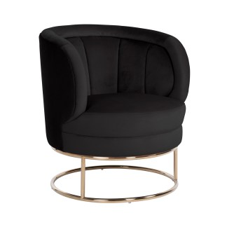 Fauteuil Felicia Black velvet / gold (Quartz Black 800)