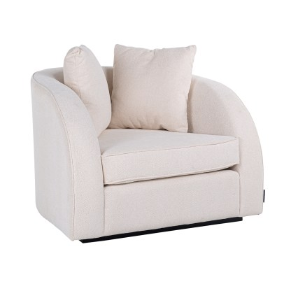 Fauteuil Darwin met 2 kussens White/Gold (Alaska 906 Offwhite)