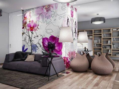 een ander fotbehang als statement in je woonkamer voor radiant orchid