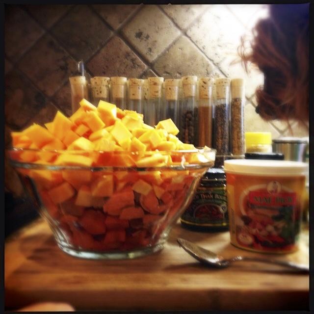 Chopped butternut squash and sweet potato