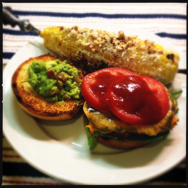 Black Bean Burgers with Guacamole and Oaxacan Street-Style Corn