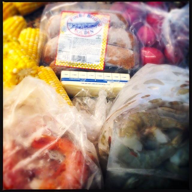 Ingredients for a shrimp boil